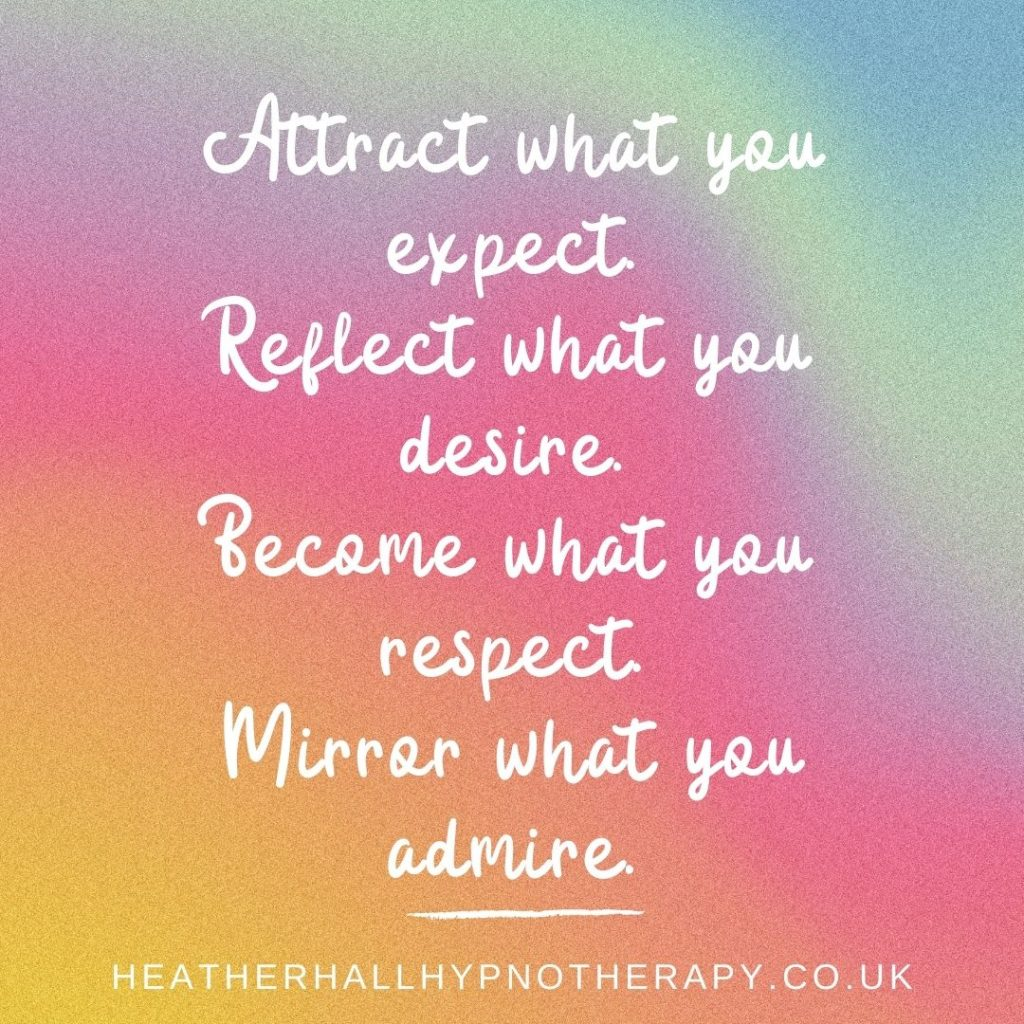 Self-Love Mirror Quotes Attract what you expect. Reflect what you desire. Become what you respect. Mirror what you admire.