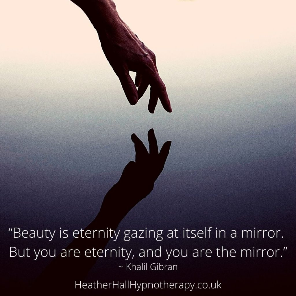 Self-Love Mirror Quotes Beauty is eternity gazing at itself in a mirror. But you are eternity, and you are the mirror.
