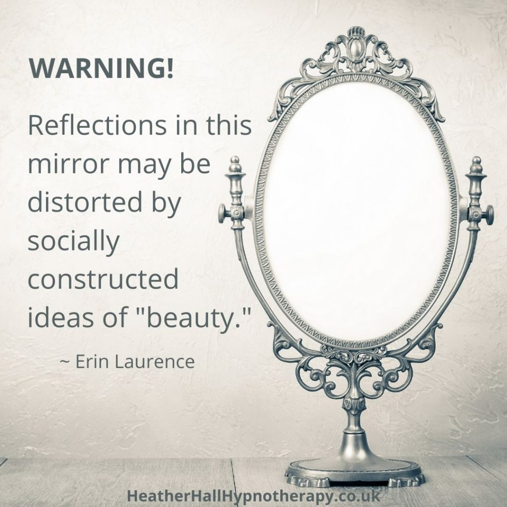 "Self-Love Mirror Quotes WARNING! Reflections in this mirror may be distorted by socially constructed ideas of ""beauty."""